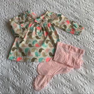 Adorable Carter's bird print dress/tights 18M